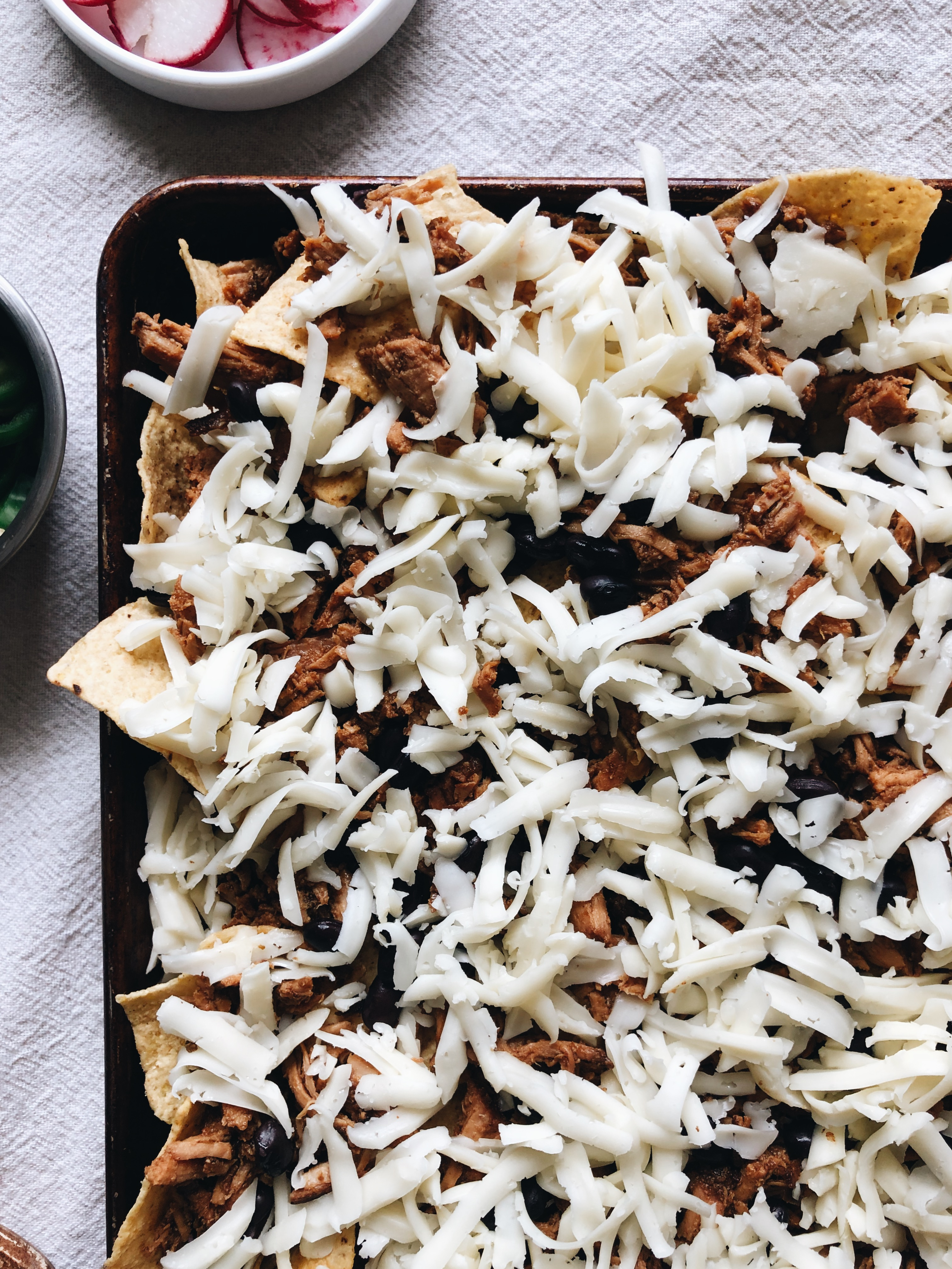 Hatch Chile Pork Nachos with Havarti Cheese / Bev Cooks
