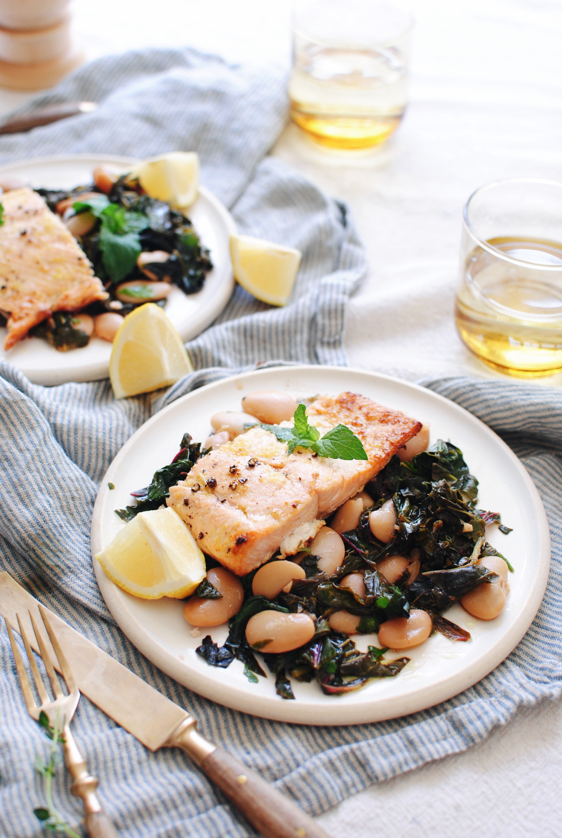Broiled Salmon with Swiss Chard and Butter Beans / Bev Cooks