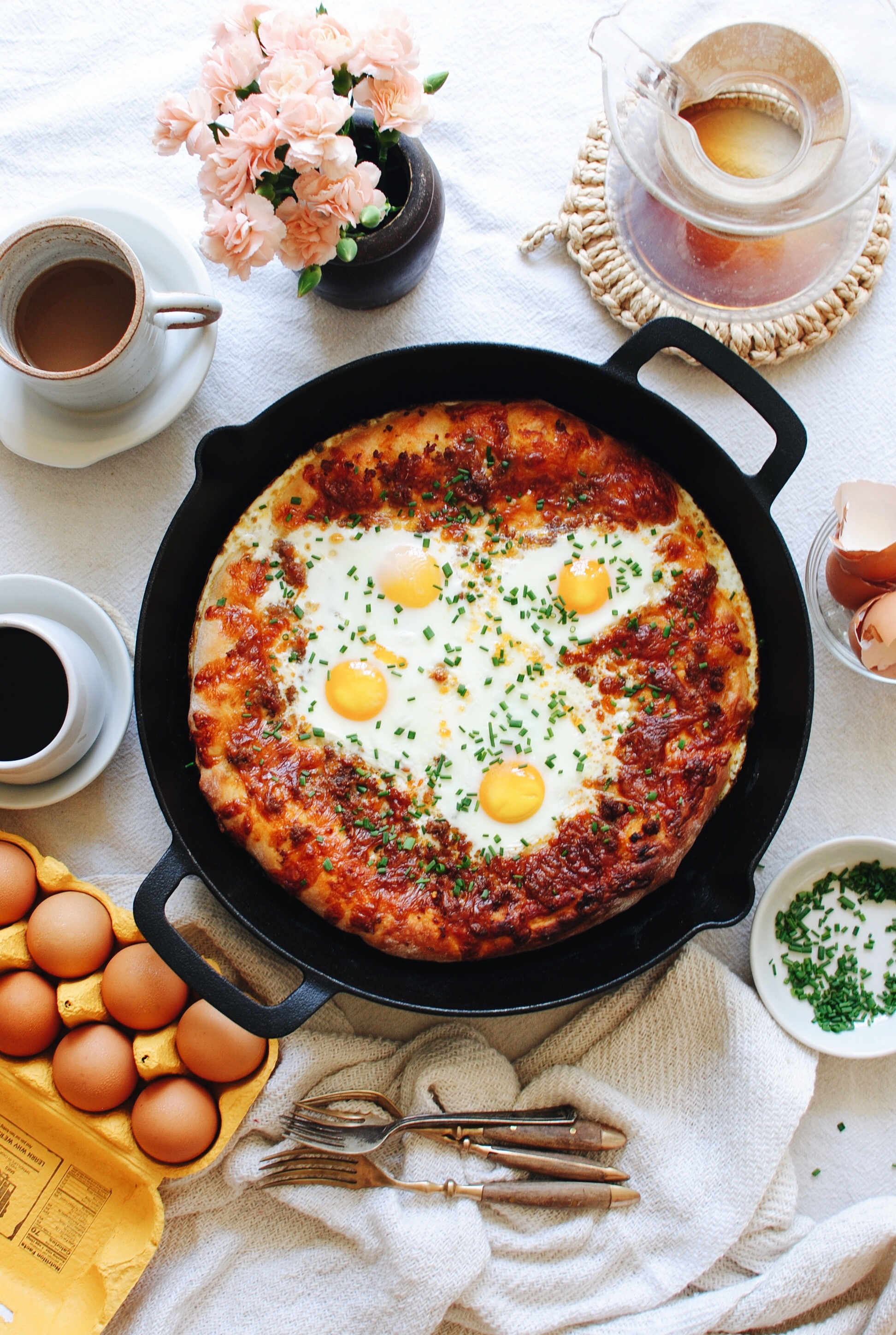 Breakfast Pizza with Sausage and Eggs / Bev Cooks