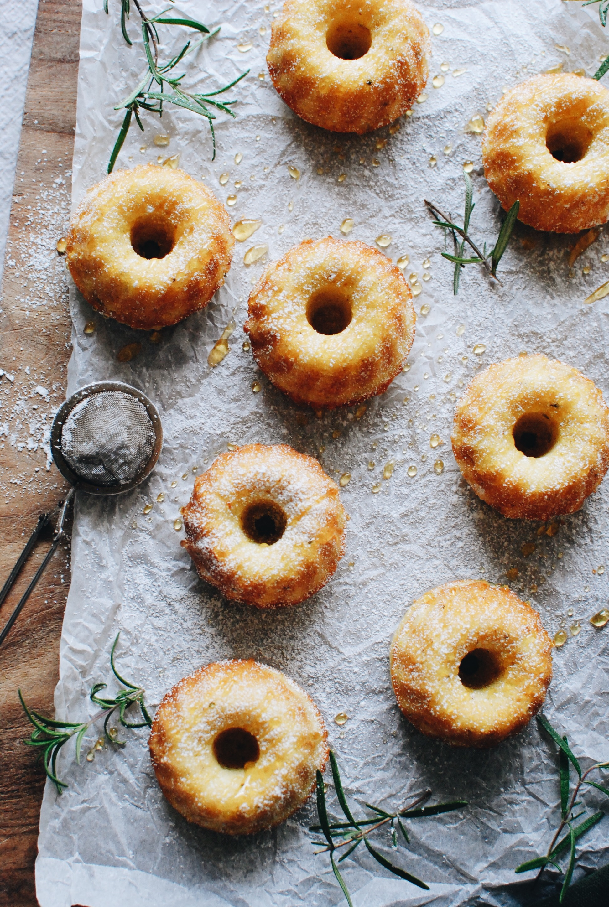 Olive Oil and Corn Mini Bundt Cakes / Bev Cooks