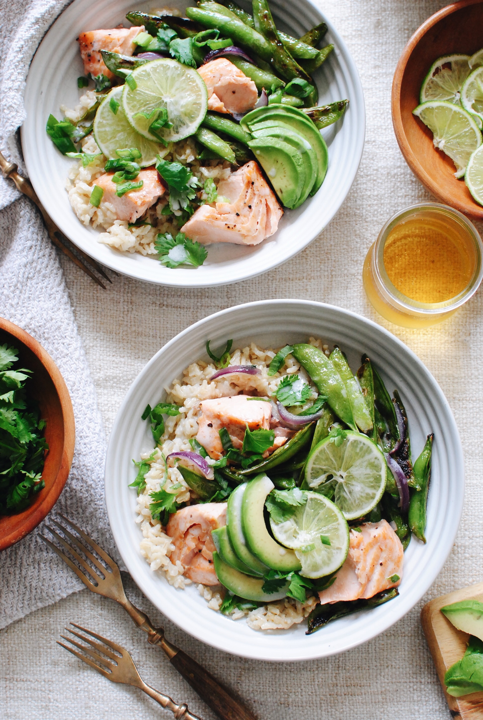Coconut Salmon Rice Bowls with Sugar Snap Peas / Bev Cooks