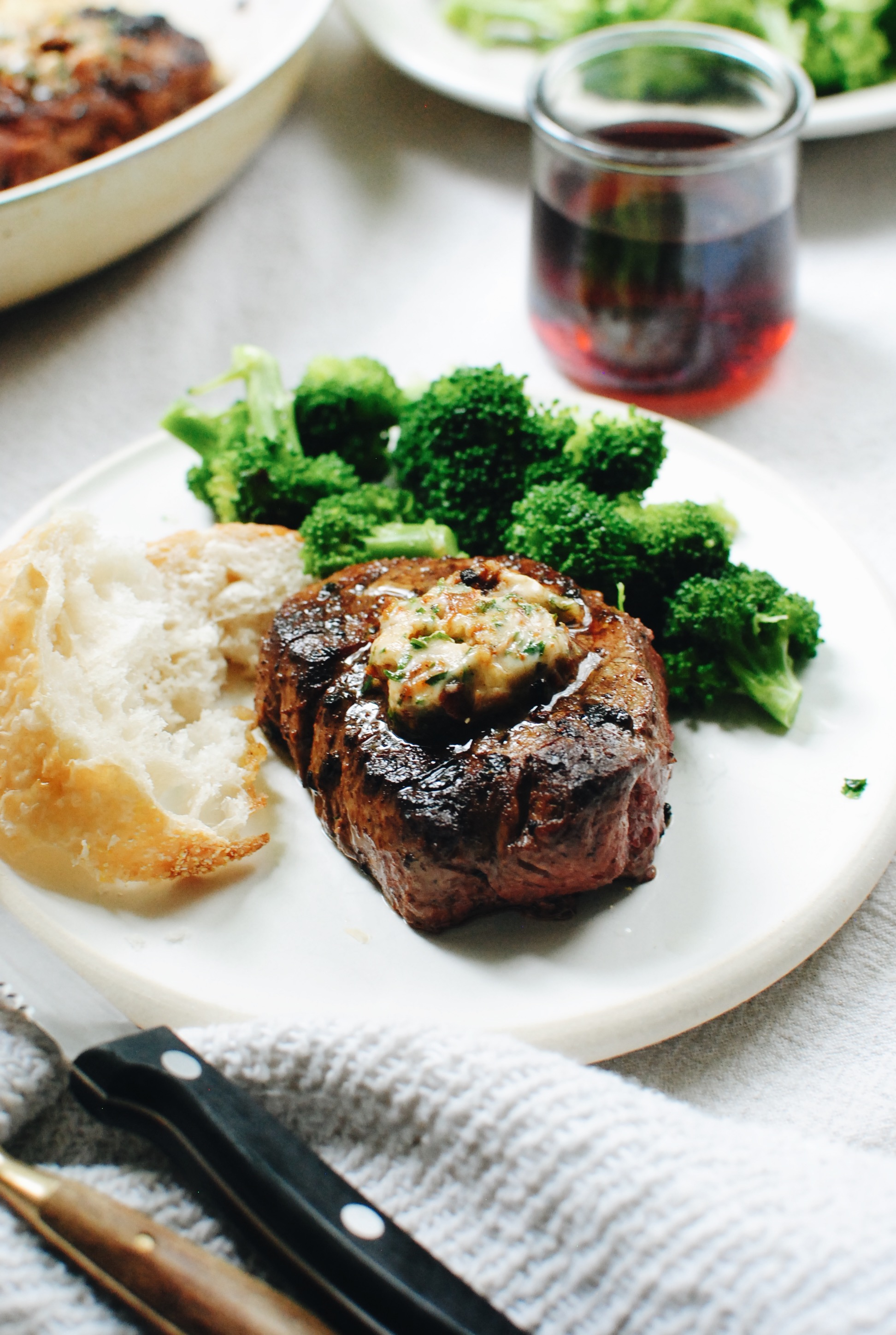 Seared Filet Mignons with a Sun-Dried Tomato Butter / Bev Cooks