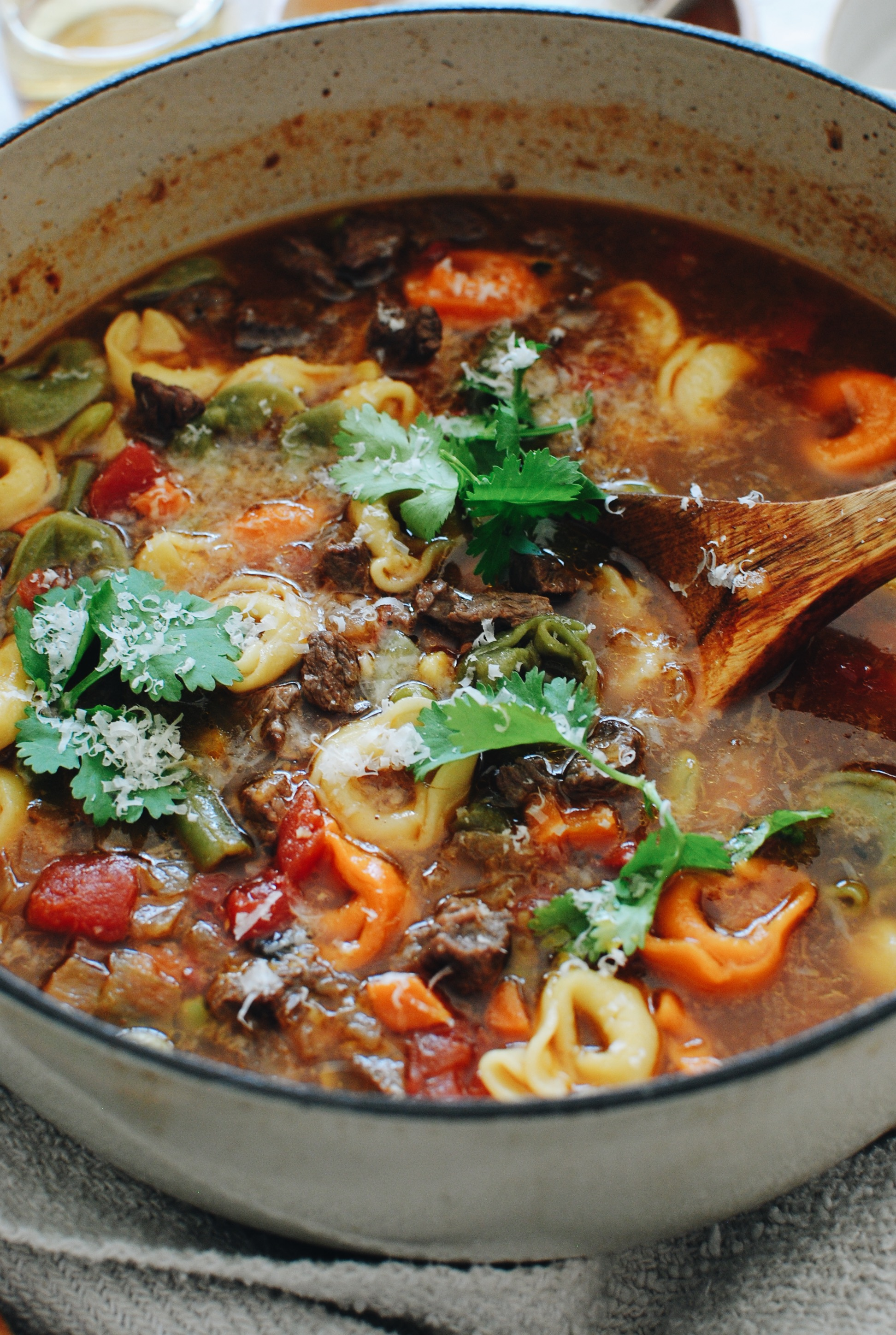 Tortellini Soup with Steak and Veggies / Bev Cooks