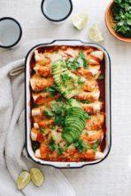 Shredded Pork and Hominy Enchiladas / Bev Cooks
