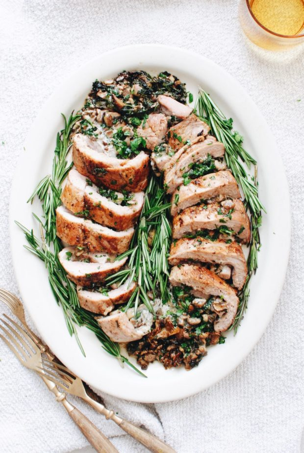 Spinach and Mushroom Stuffed Pork Tenderloin / Bev Cooks