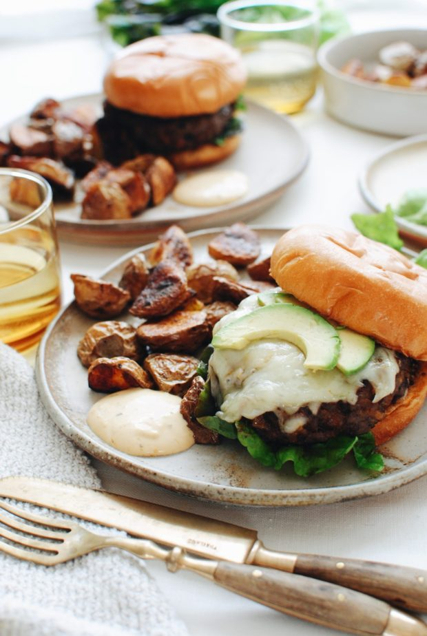 Caramelized Onion Burgers / Bev Cooks