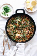 Skillet Chicken with Grains and Broccolini / Bev Cooks