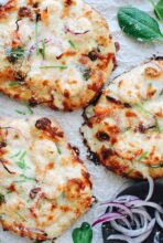 Ranch Shrimp and Spinach Pizzas / Bev Cooks