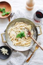 Creamy Penne Pasta with Shallots and Blue Cheese - For One! / Bev Cooks