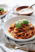 Slow-Roasted Tomatoes over Linguine with a Meat Sauce / Bev Cooks