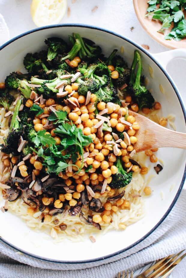 Skillet Orzo with Roasted Broccoli, Mushrooms and Chickpeas / Bev Cooks