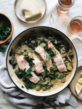 Creamy Potatoes with Salmon and Spinach / Bev Cooks