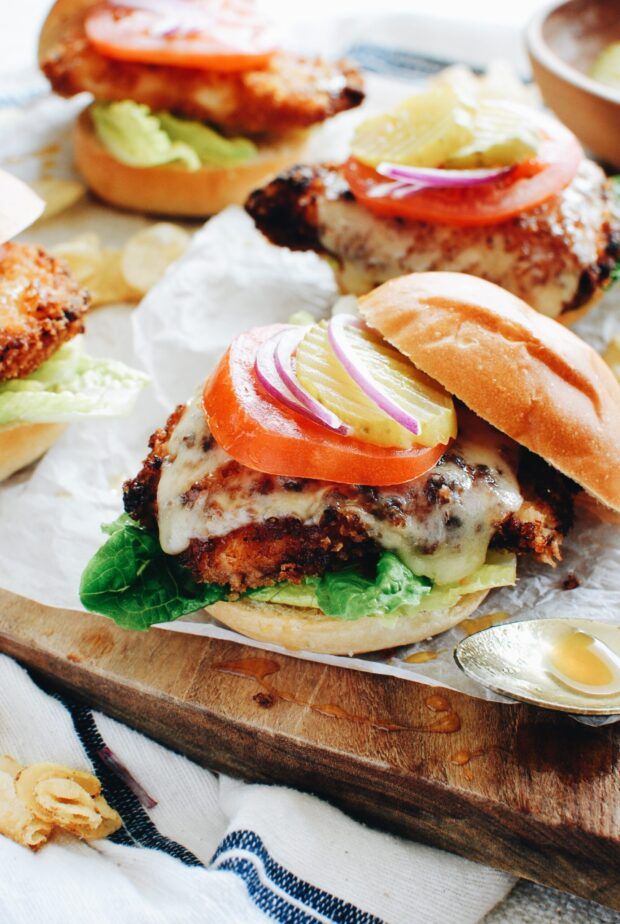 Honey Mustard Chicken Sandwiches / Bev Cooks