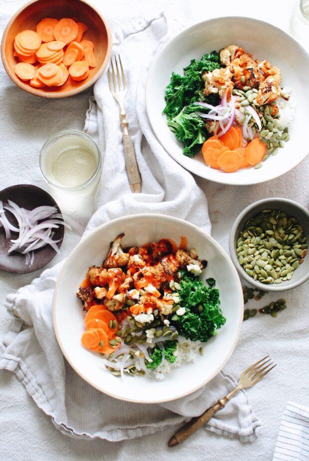 Buffalo Cauliflower Rice Bowls / Bev Cooks