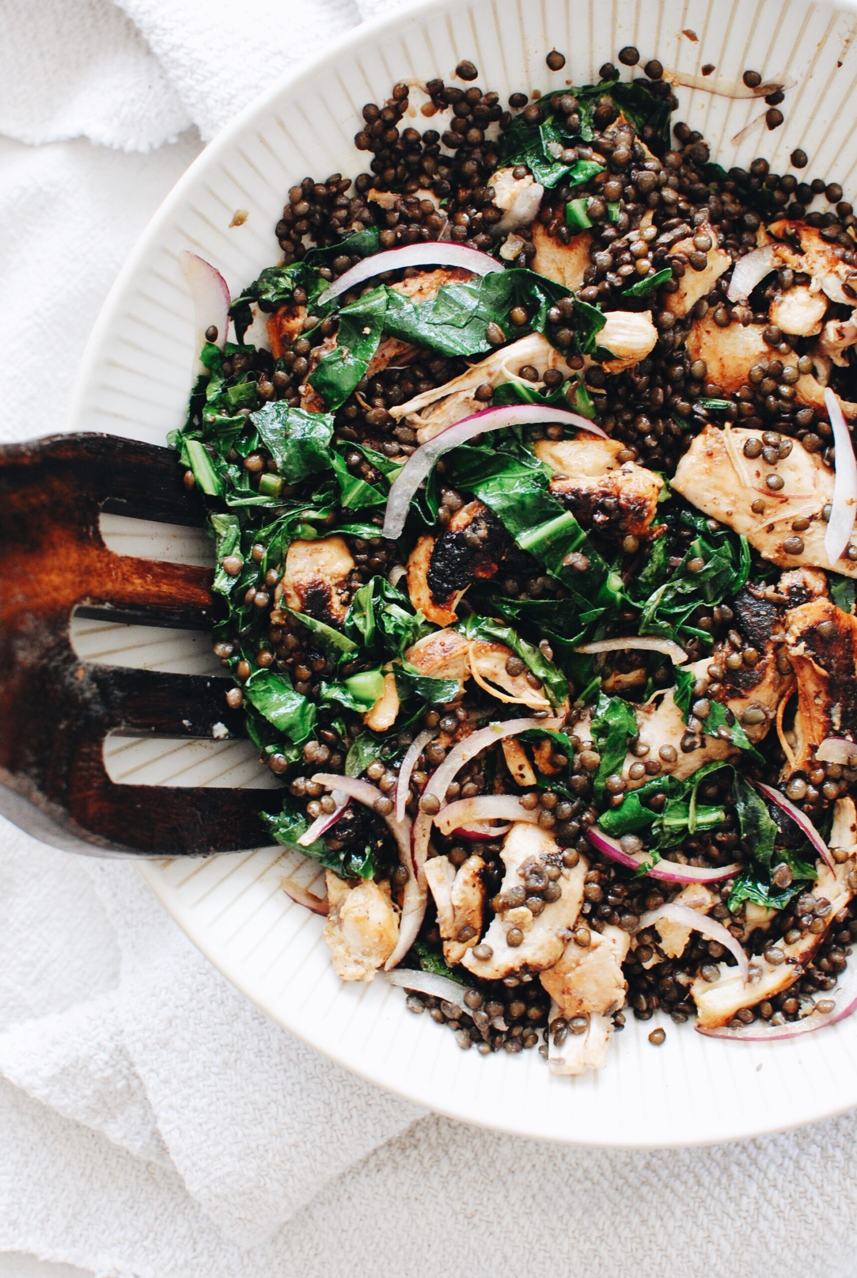 Buttermilk Chicken with Lentils and Collard Greens / Bev Cooks