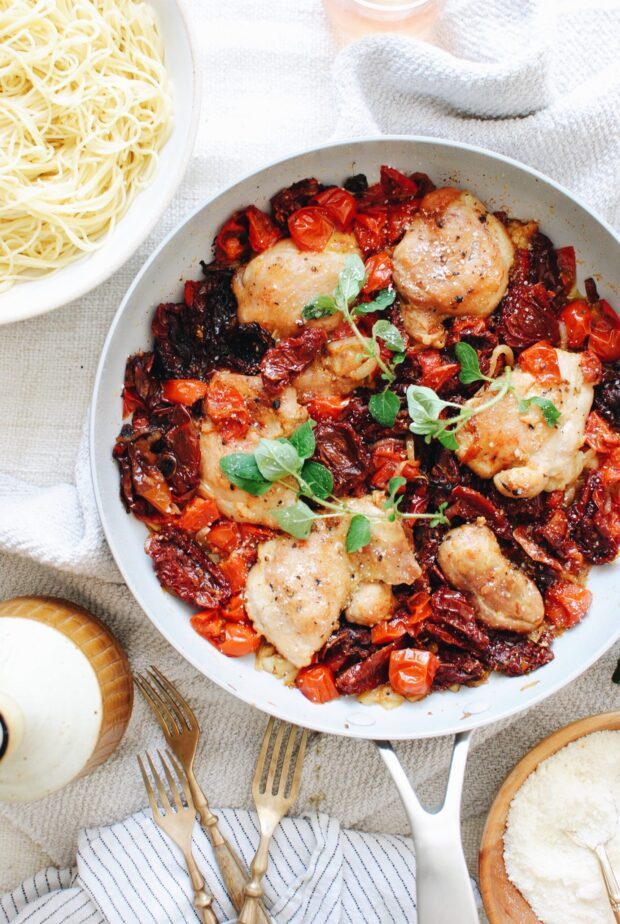 Rustic Chicken and Tomatoes with Angel Hair Pasta / Bev Cooks