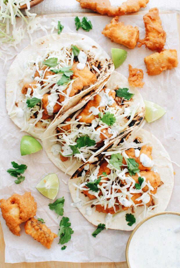 Beer-Battered Corn Chip Fish Tacos / Bev Cooks