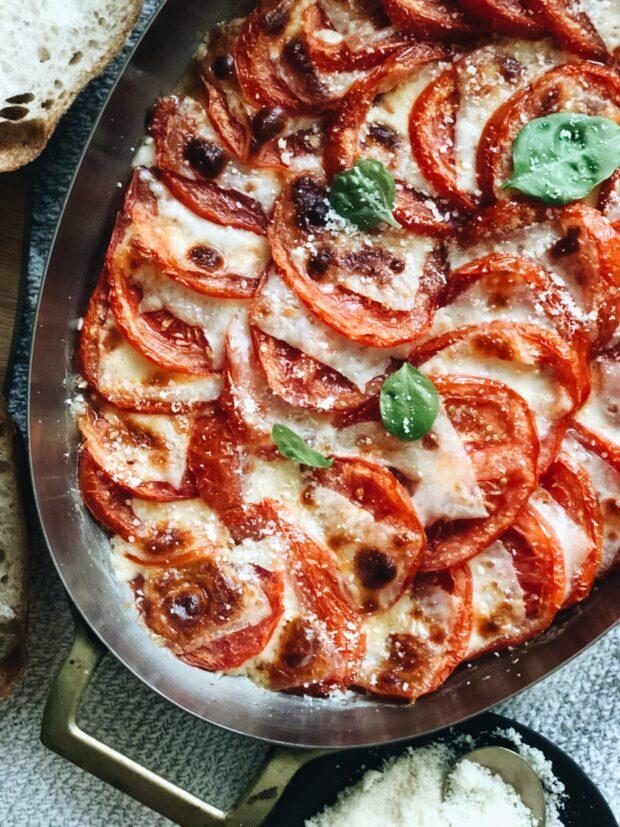 Cheesy Tomato Gratin / Bev Cooks