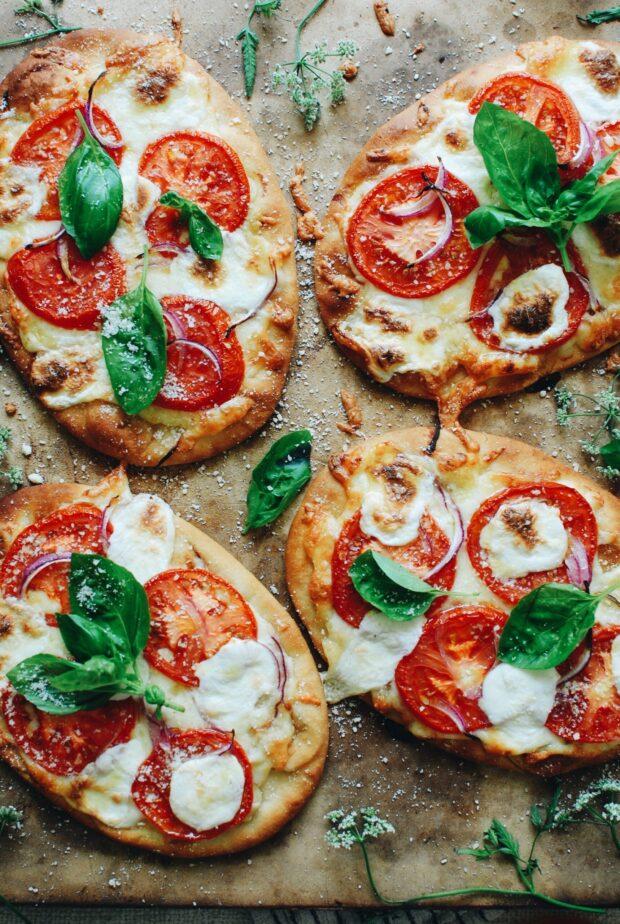 Caprese Naan Pizzas / Bev Cooks