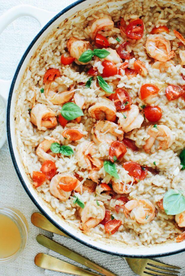 Bruschetta Shrimp Risotto / Bev Cooks