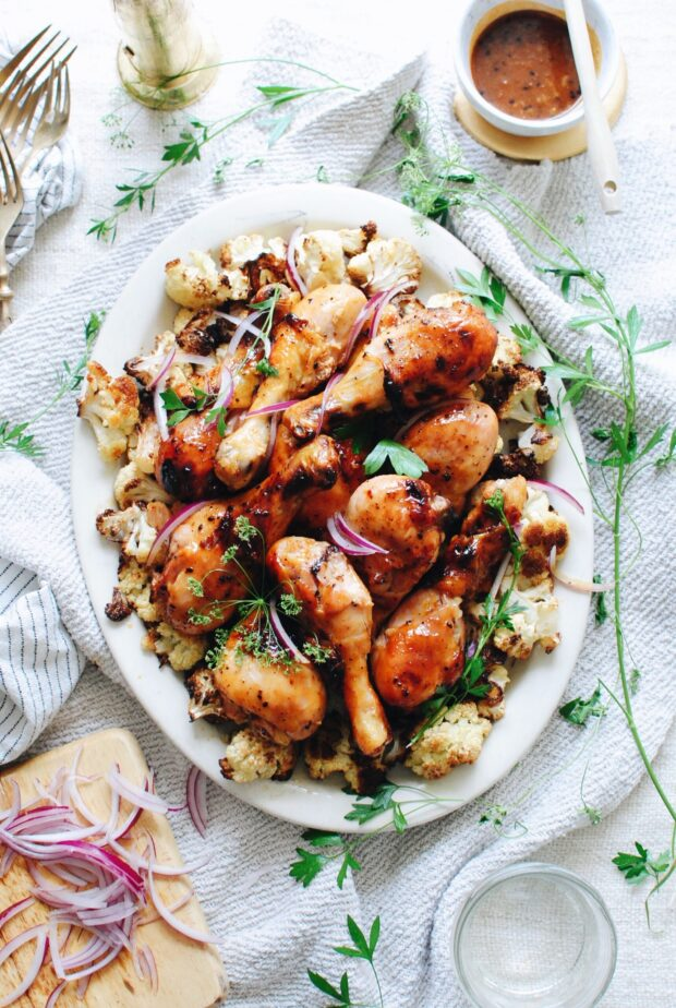 BBQ Drumsticks with Roasted Cauliflower / Bev Cooks