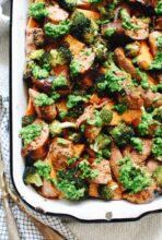 Sweet Potato, Broccoli and Sausage Bake / Bev Cooks