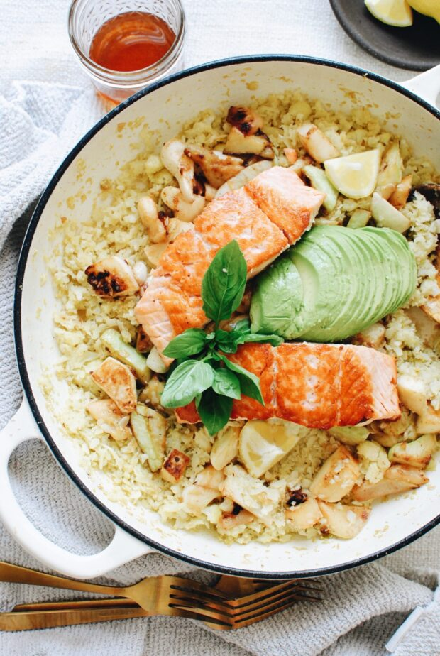 Salmon and Cauliflower Bowls with Patty Pan Squash / Bev Cooks