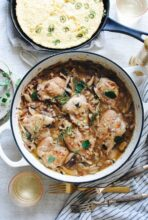 Braised Chicken with Mushrooms and Shallots / Bev Cooks