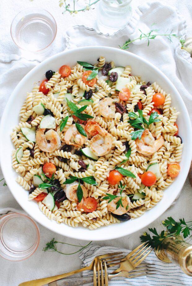Greek Shrimp Pasta Salad / Bev Cooks