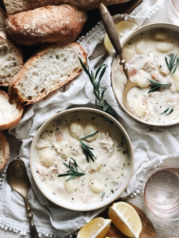 Creamy Rosemary Chicken Gnocchi Soup / Bev Cooks