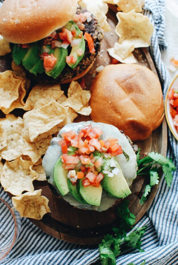 Loaded Black Bean Burgers / Bev Cooks