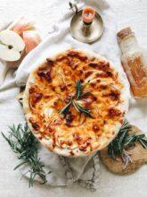 Skillet Apple Cheddar Pie / Bev Cooks