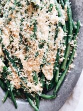 Seared Green Beans with a Lemon Butter Parmesan Sauce / Bev Cooks