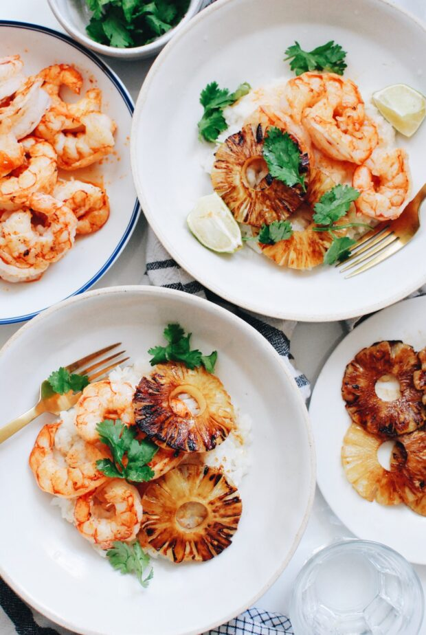 Seared Shrimp and Pineapple with Sticky Coconut Rice / Bev Cooks