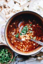 Pulled Pork Enchilada Soup / Bev Cooks