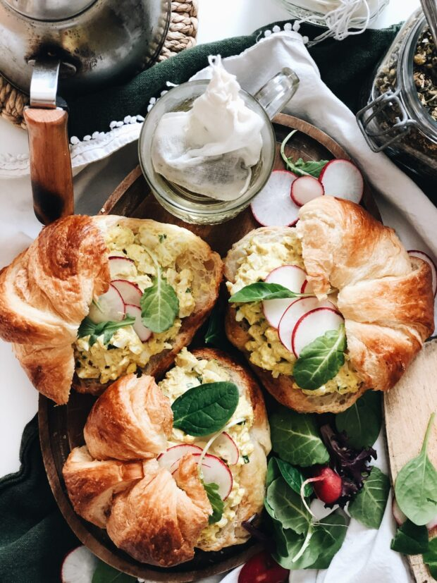 Curried Egg Salad Croissant Sandwiches / Bev Cooks