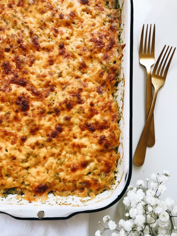 Chicken and Broccoli Orzo Bake / Bev Cooks