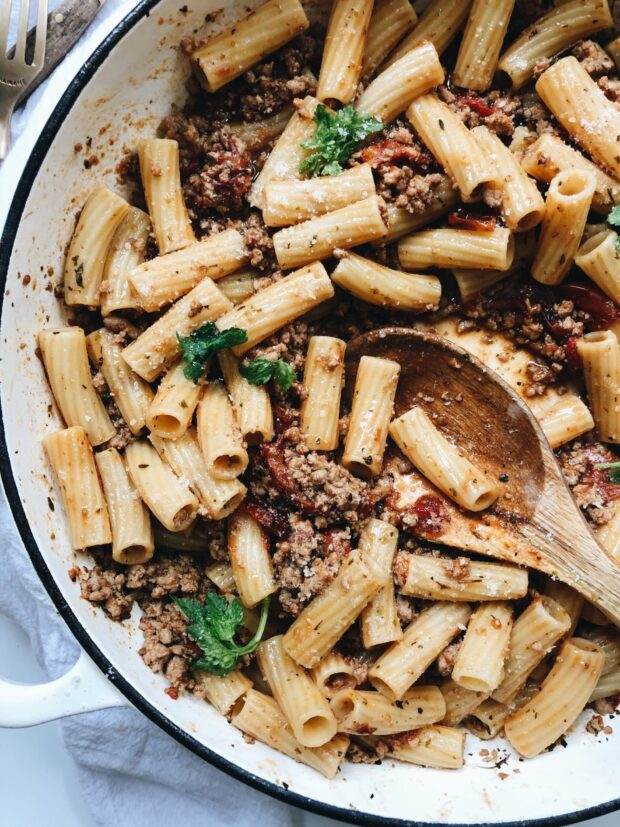 Slow-Roasted Tomato and Turkey Rigatoni / Bev Cooks