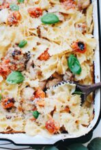 Creamy Bowtie Pasta with Chicken and Tomatoes / Bev Cooks