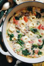 Creamy Tortellini Soup with Sausage and Kale / Bev Cooks