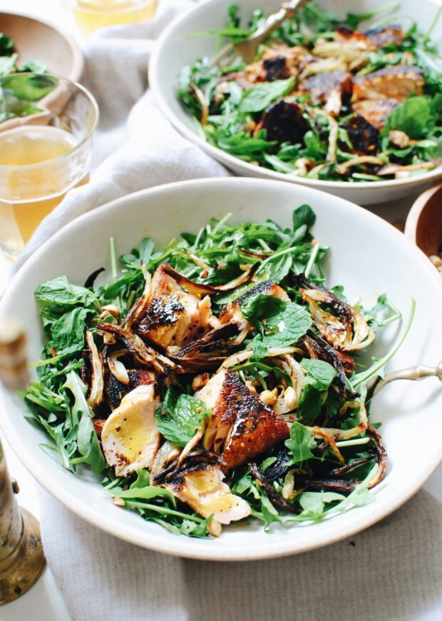 Arugula Salad with Roasted Fennel and Seared Salmon / Bev Cooks