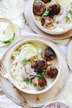 Cilantro Turkey Meatballs with Rice and Lime / Bev Cooks