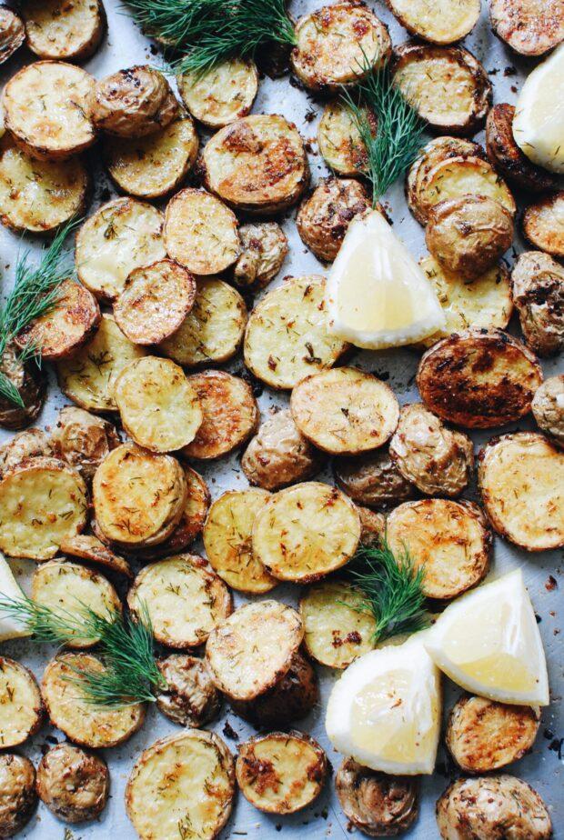 Lemon Garlic and Dill Roasted Potato Discs / Bev Cooks