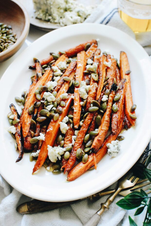 Roasted Carrots with Blue Cheese and Pepitas / Bev Cooks