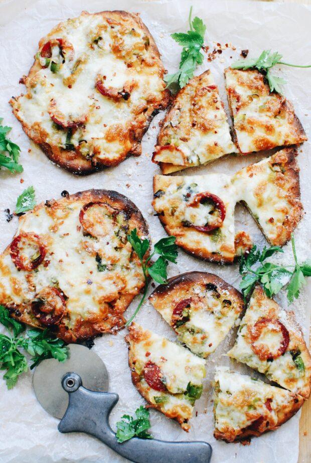 Mini Leek and Pepperoni Naan Pizzas / Bev Cooks