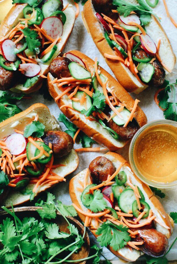 Banh-Mi Inspired Brats / Bev Cooks