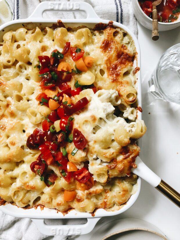 Creamy Chicken Enchilada Pasta Bake / Bev Cooks