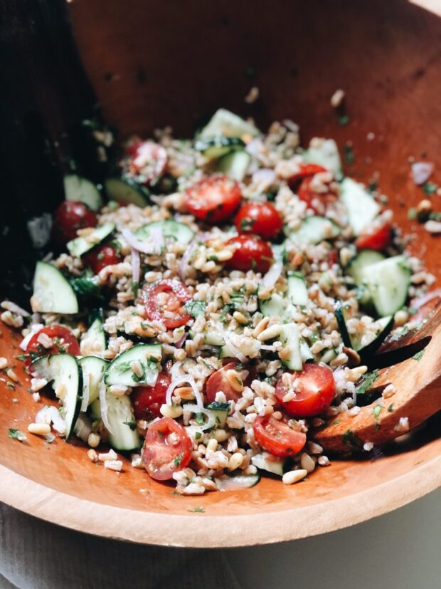Farro Salad with Cucumbers, Shallots and Mint / Bev Cooks