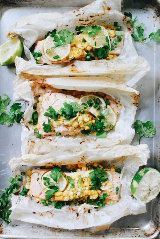 Coconut Salmon Pouches with Pineapple and Corn / Bev Cooks