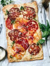 Heirloom Tomato and Gruyere Slab Pie / Bev Cooks